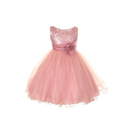 Kids Dream Girls Dusty Rose Sequin Tulle Plus Size Party - Boutique Dresses For Kids