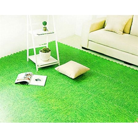 All For You 9PC Interlocking Foam Floor Mat Foam Soft Carpet Surface, Grass Mat - Green Grass Mats