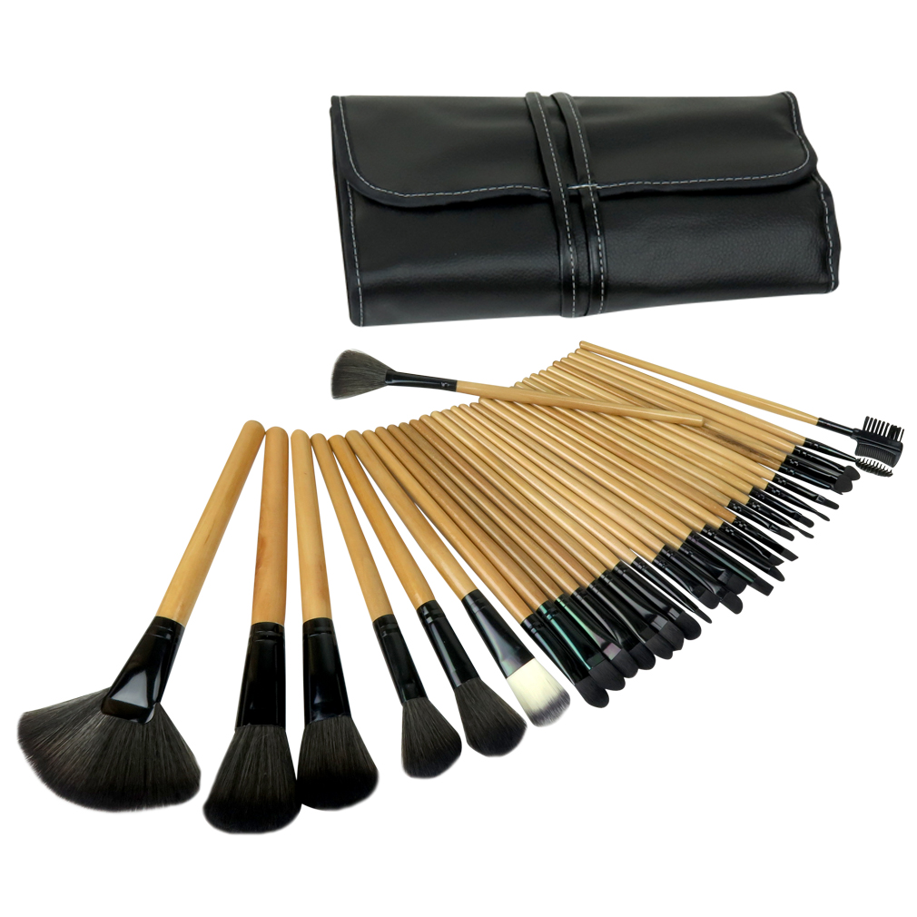 Evelots 32 Pcs Wooden Makeup Brush Cosmetic Set Kit With Travel Case, Black