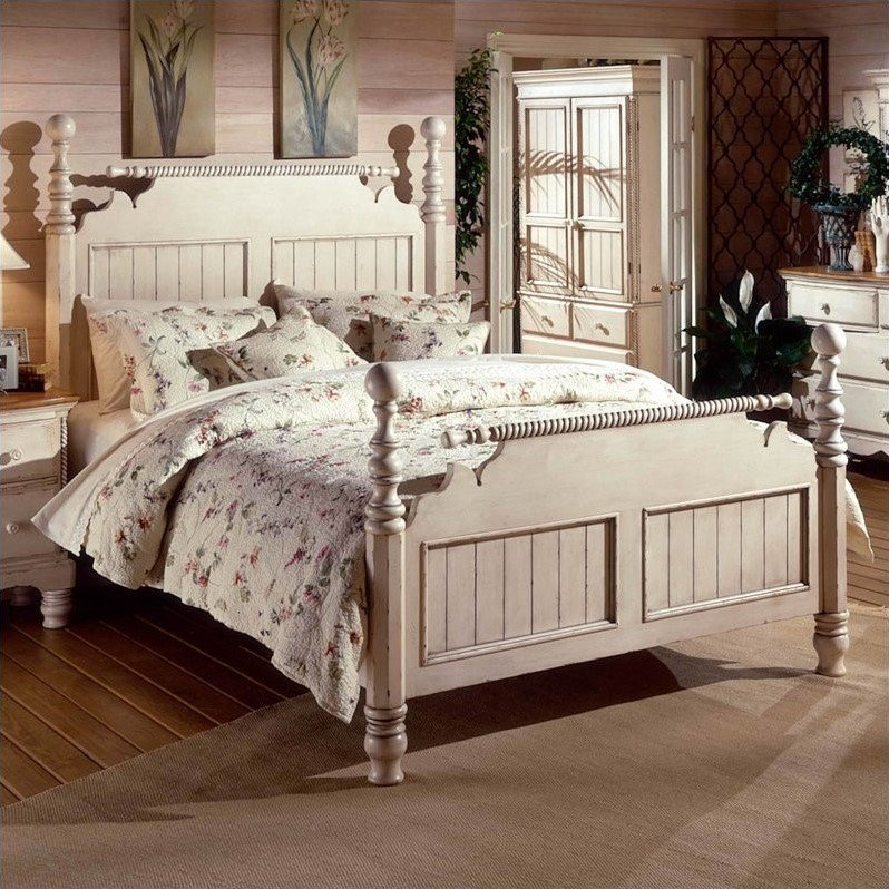 Hillsdale Wilshire Poster Bed in Antique White Finish-King by Hillsdale