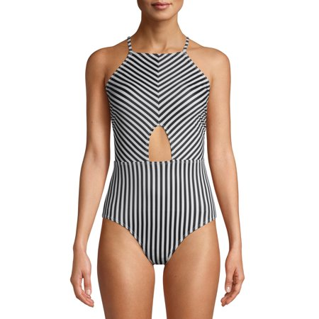 Juicy Couture Womens One-Piece High Neck Swimsuit With Center Cutout Juicy Couture Crown Charm