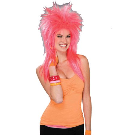 Pink Pizzazz Punk 1980s Costume Wig 62857](1980s Wigs)