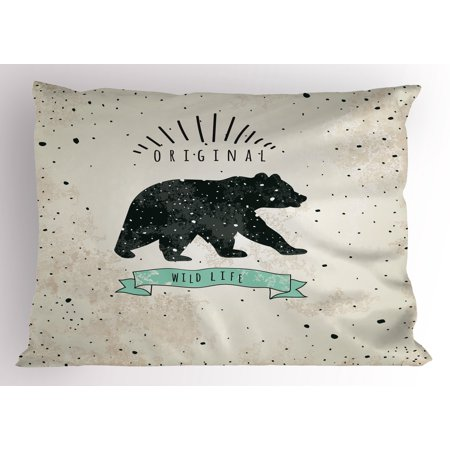 Bear Pillow Sham Vintage Wildlife Label Hunting Theme Icon with Random Dots Predator Paws, Decorative Standard Size Printed Pillowcase, 26 X 20 Inches, Tan Black Mint Green, by Ambesonne
