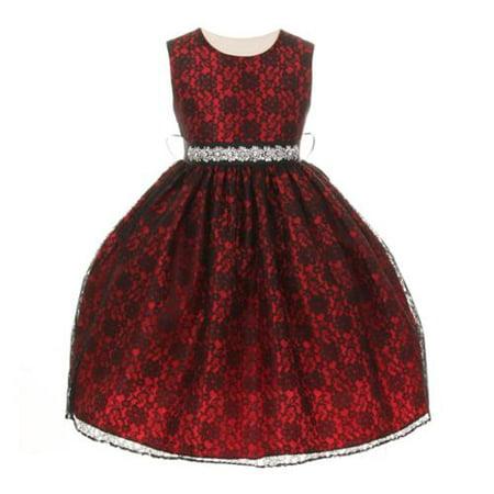 Silk Taffeta Jeweled Dress (Girls Red Lace Taffeta Jeweled Belt Flower Girl Dress)