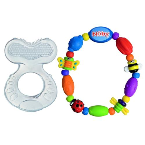 Nuby Silicone Teether with Bristles & Bug-A-Loop Teether, Blue