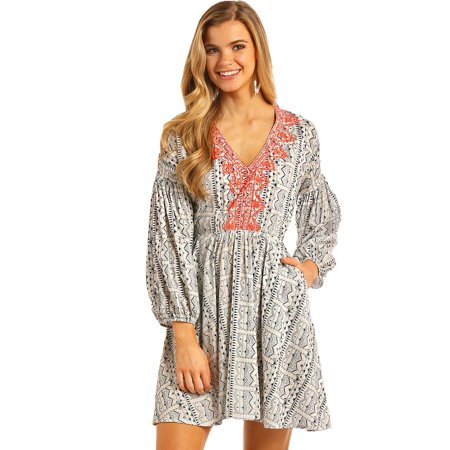 Rock & Roll Cowgirl Women's And Navy Aztec Print Dress - D4-4752-42](Womens Cowgirl Outfit)