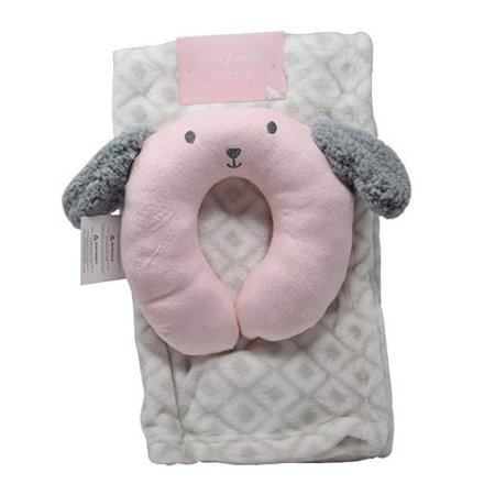Minky Cozy Baby Blanket With Travel Animal Face U Pillow