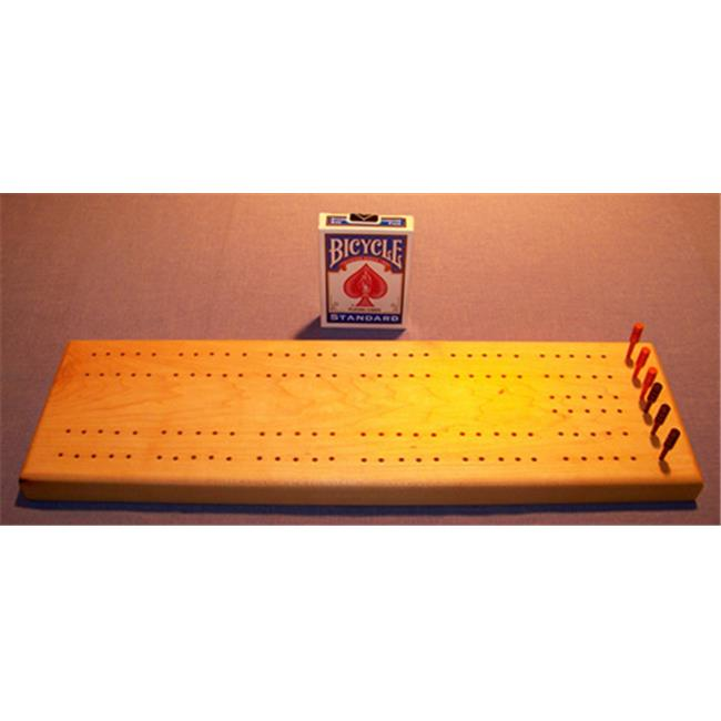 THE PUZZLE-MAN TOYS W-1400-B Wooden Cribbage Game Board in Hard Maple Plus Scoring Pegs  Deck Of Cards