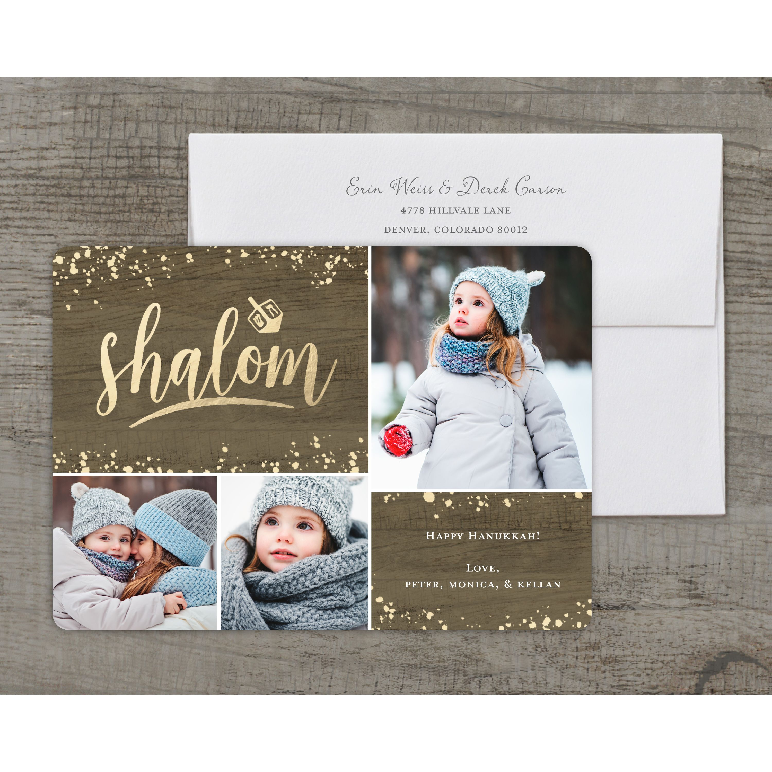 Opulent Shalom - Deluxe 5x7 Personalized Holiday Hanukkah Card
