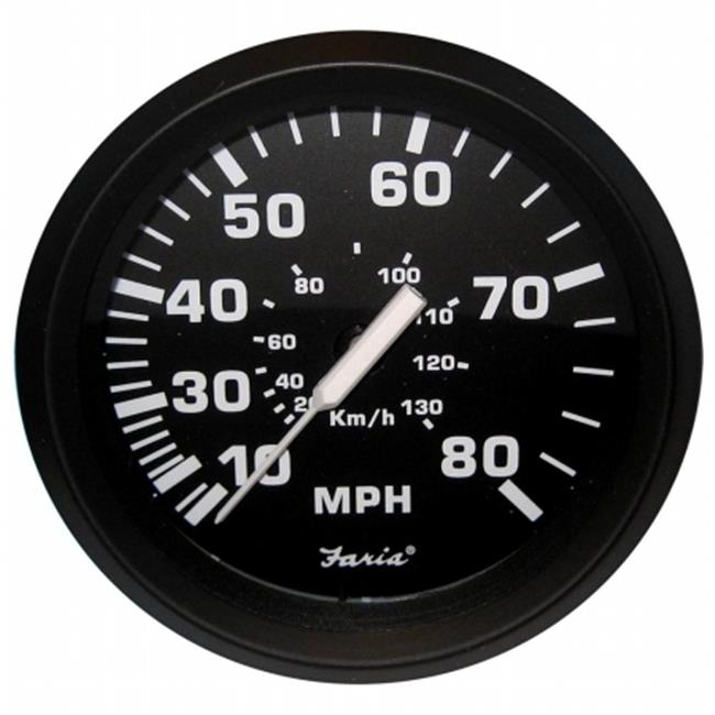 Faria Beede Instruments 32812 Euro Black 4 in. Speedometer - 80Mph