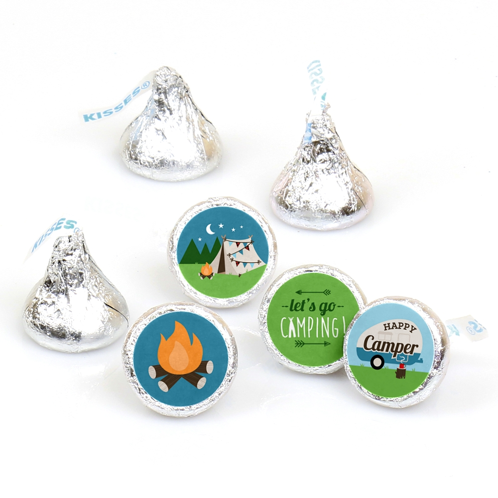 Happy Camper - Camping Baby Shower or Birthday Party Candy Sticker Favors - Labels Fit Hershey's Kisses-108 Ct
