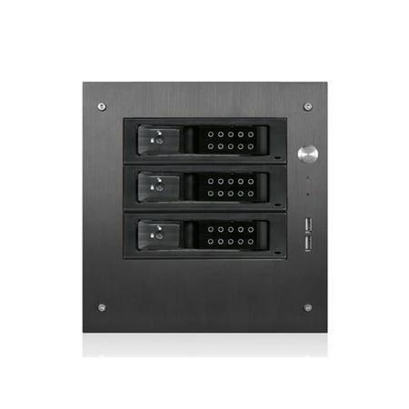 Compact Stylish 3X 3.5 In. Hotswap Trayless Mini-Itx Tower, Black
