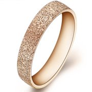 ES Jewel GJ070N5 Stainless Steel Ring Texured Rose Gold - Size 5, Unisex