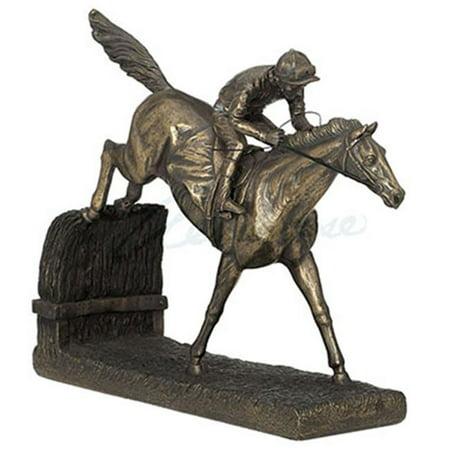 Unicorn Studios Wu67886a1 Jockey On Horse Jumping Hurdle Cold Cast Bronze Figurine