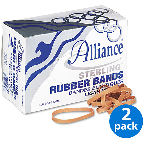 Alliance Sterling Ergonomically Correct Rubber Bands, #64, 425/Box, 2 Boxes