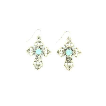 Blazin Roxx 29553 Crystal & Stone Cross Earrings, Turquoise