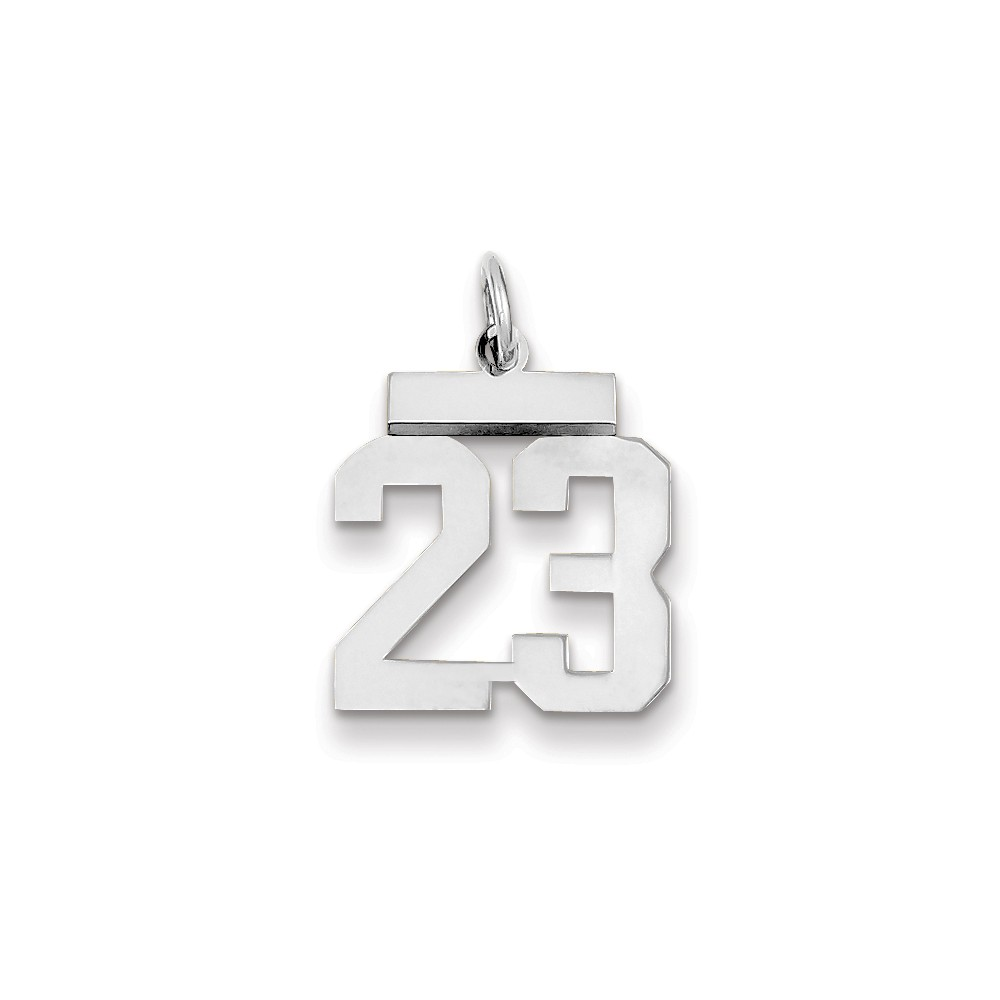 14k White Gold Small Polished Number 23 Charm Pendant