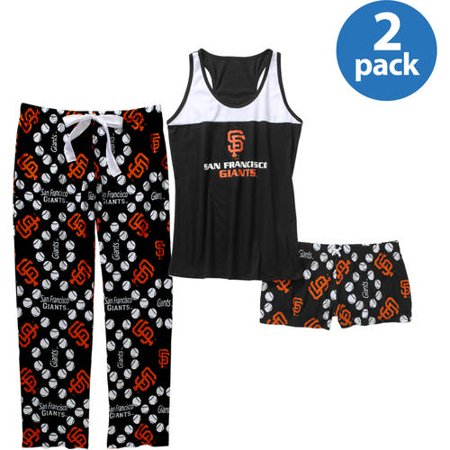 MLB Womens San Francisco Giants Tank Top and Shorts Pant Set, 2 Pack by