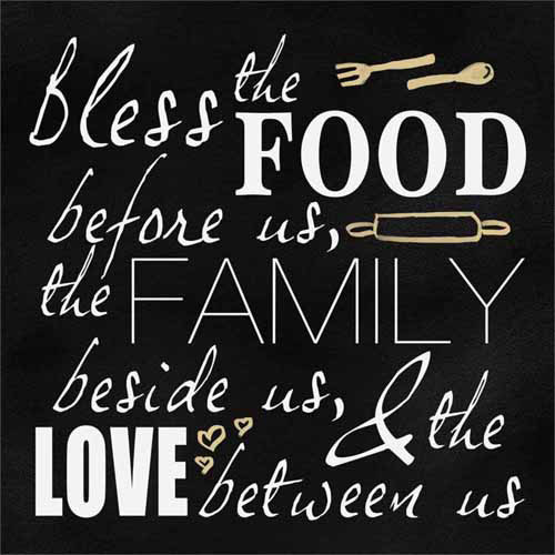 Bless Food, Family and Love Kitchen Typography Black & White Canvas Art by Pied Piper Creative