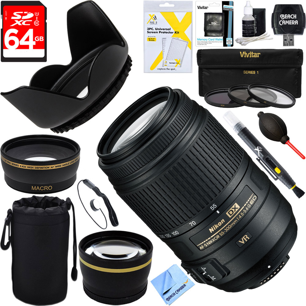 Nikon 2197 - 55-300mm f/4.5-5.6G ED VR AF-S DX NIKKOR Lens for Nikon Digital SLR Cameras + 64GB Ultimate Filter Bundle