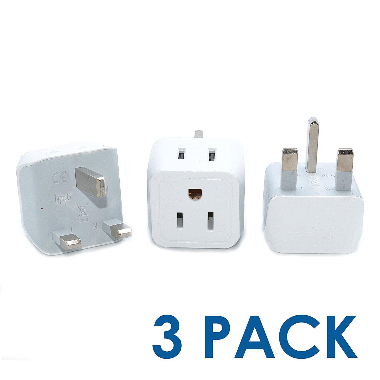 Ceptics USA to UK, Hong Kong Travel Adapter Plug - Type G (3 Pack) - Dual Inputs - Ultra Compact