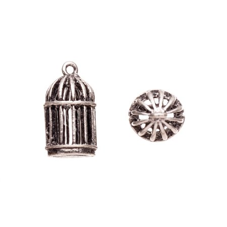 Drops/Charms, Bird Cage Antique-Silver Plated 12x20mm 4pcs/pack (2-pack Value Bundle), SAVE $1 ()