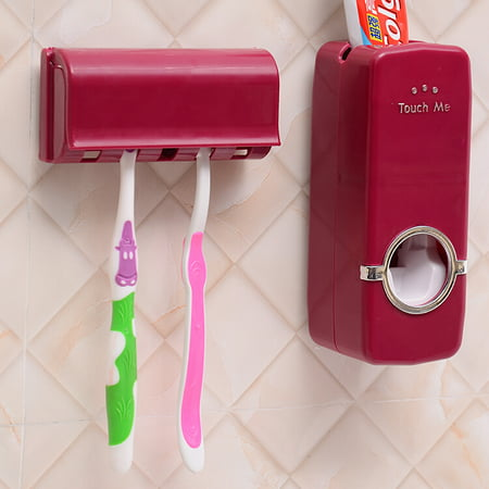 Automatic Lazy Wall Mount Rack Toothpaste Dispenser + 5 Toothbrush Holder Wall Mount Stand For Home Dormitory - image 4 of 4
