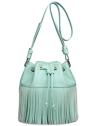 Miss Lulu Leather Look Fringe Tassel Drawstring Bucket Hobo Shoulder Bag (Blue)