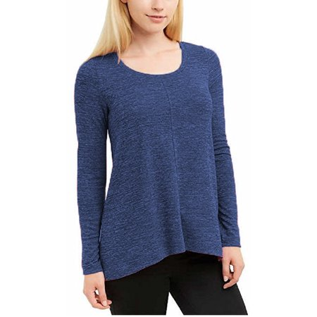 JONES NEW YORK Womens Long Sleeve, Marled Knit, Stretch Tunic Top (Indigo Melange, Small) Short Sleeve Knit Tunic