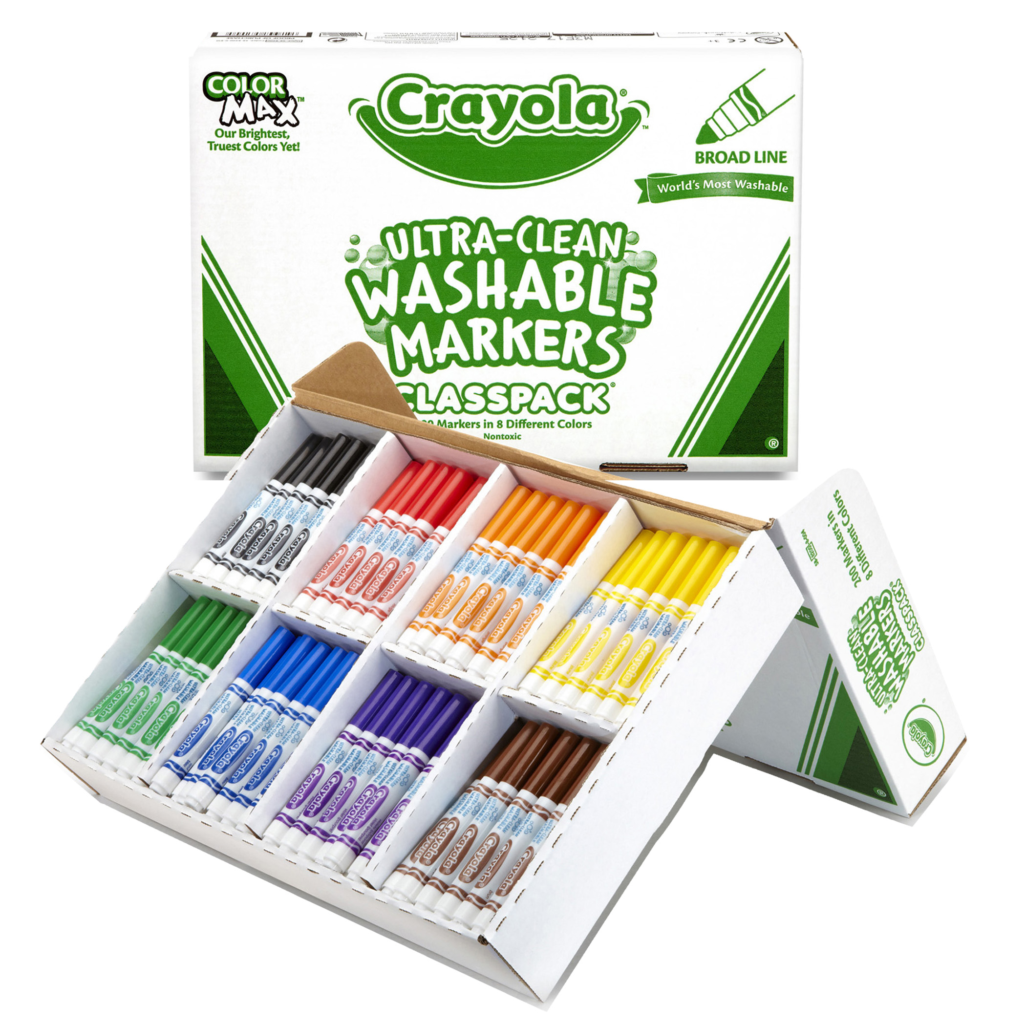 Crayola® Ultra-Clean Washable Markers Classpack, Broad Line, 8 Colors, Pack of 200
