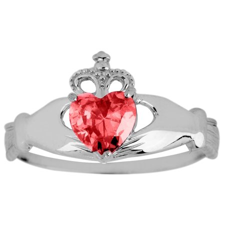 Silver Birthstone Claddagh Ring Ruby-5 75/