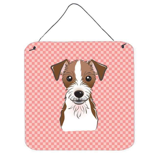 Checkerboard Blue Jack Russell Terrier Aluminum Metal Wall Or Door Hanging Prints, 6 x 6 In.