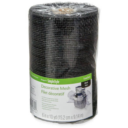 "Mesh Metallic Ribbon 6"" Wide-Black"
