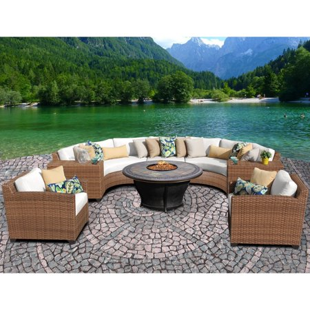 TK Classics Laguna 8 Piece Curved Wicker Patio Conversation Set with Tempe Firepit Table ()