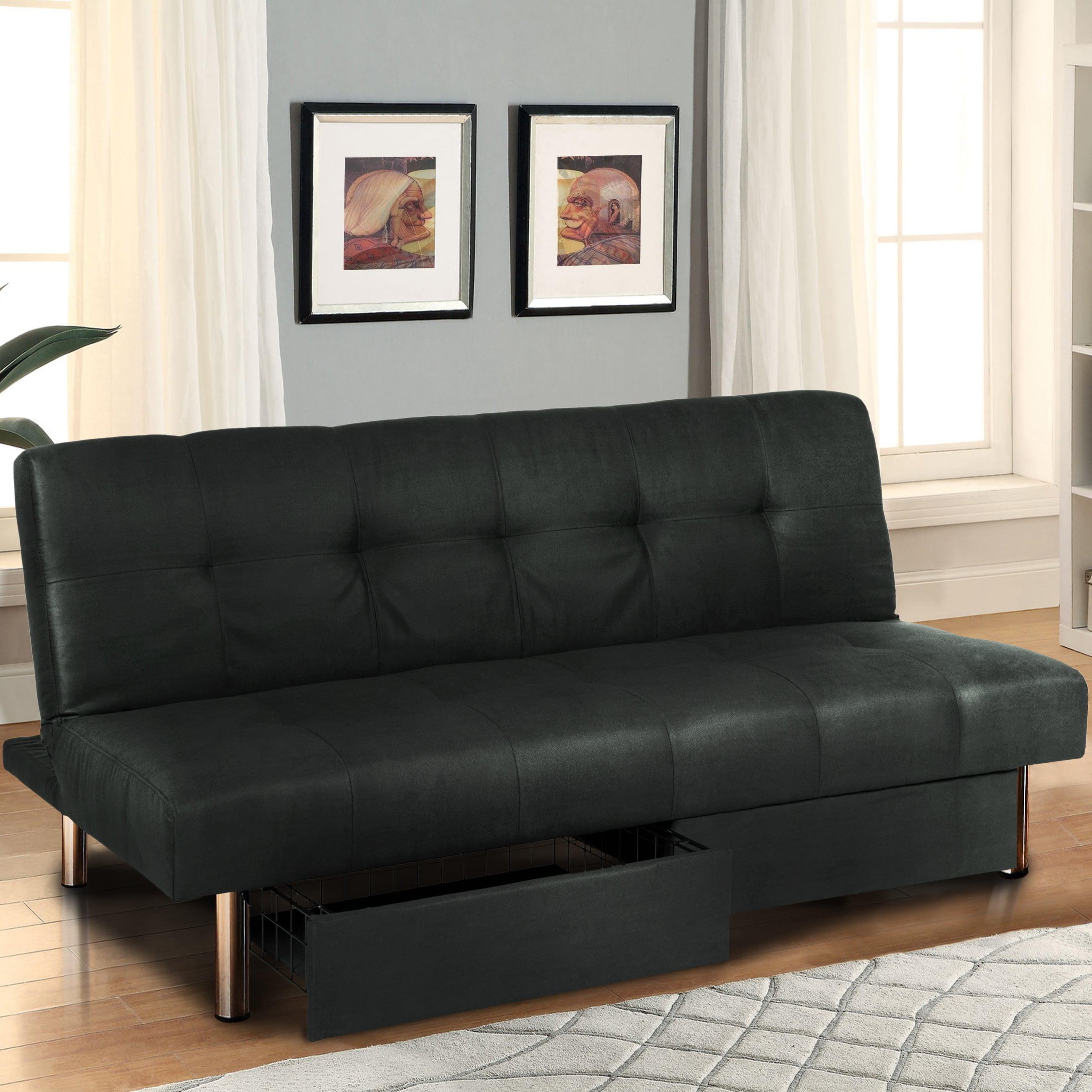 futon bed sofa leather Black