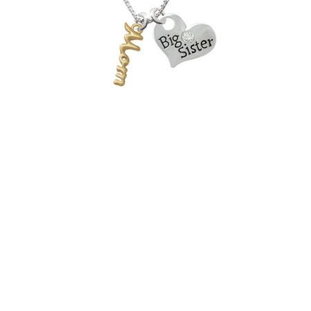 Small Gold Tone Mom Script Big Sister Heart Necklace  18  2