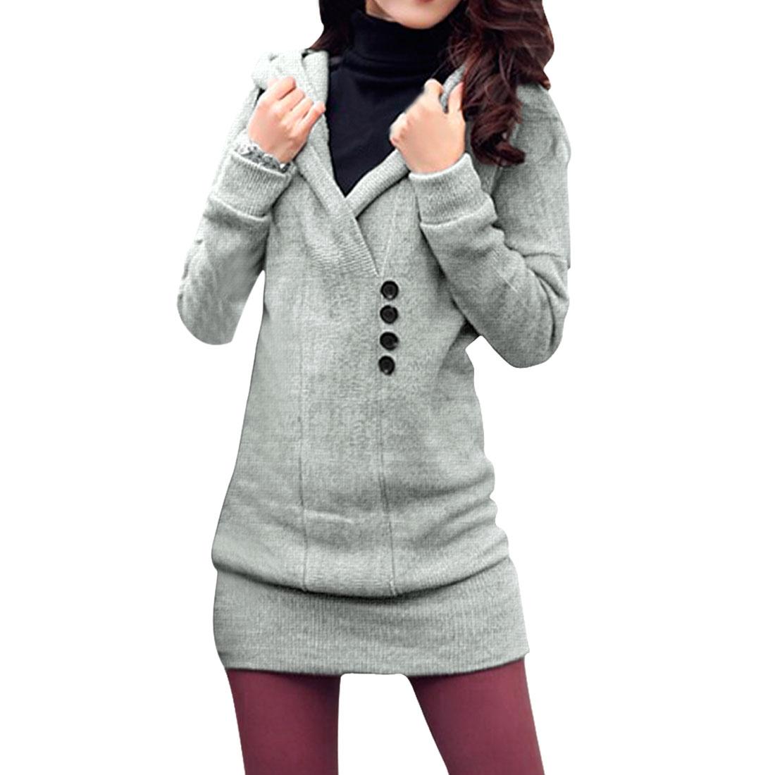 Allegra K Women's Hooded Pullover Button Decor Tunic Knit Shirt Gray (Size XL / 16)