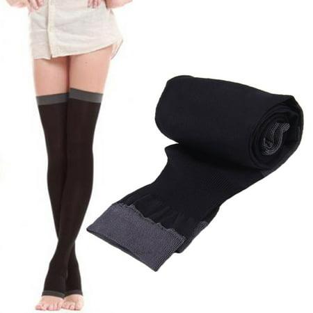 6ff3ec38225d08 Lady Compression Knee Toe Stockings Fat Burn Leg Slim Thigh High ...