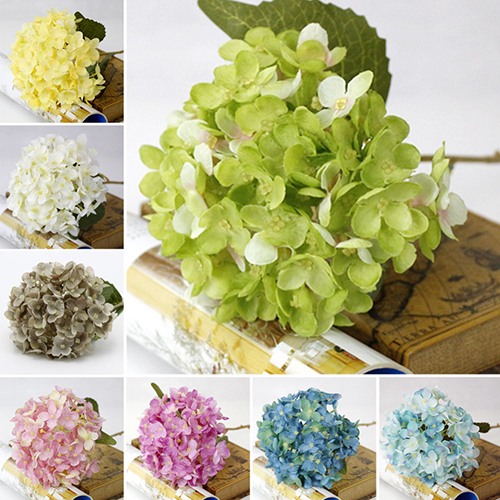 Obstce 1 Bouquet Faux Artificial Silk Flower Hydrangea Leaves Wedding Party Decor Craft