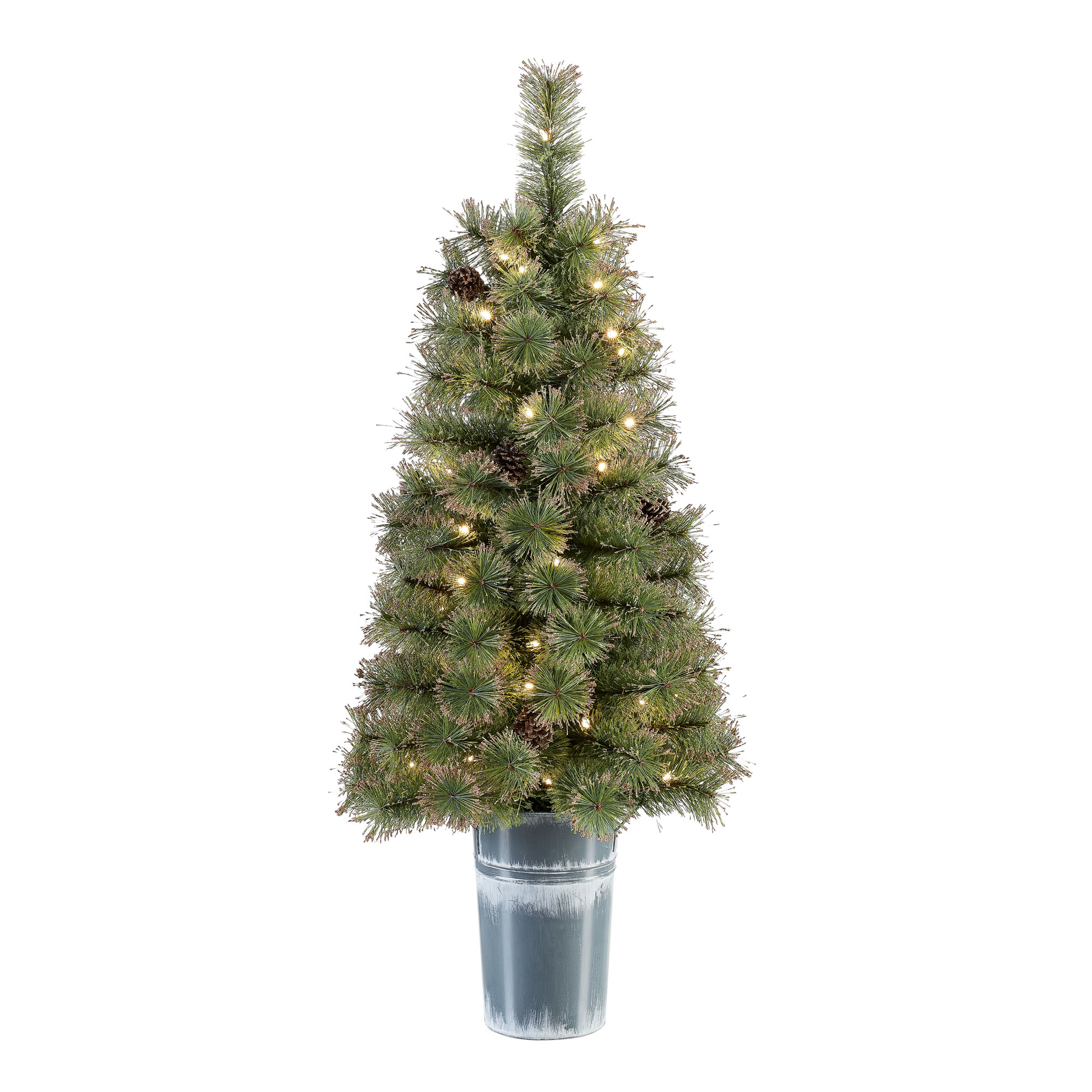 Holiday Time Pre-Lit LED Gold Glitter Tipped Potted Tree Christmas Decoration, 4', Warm White