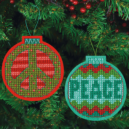 "Jolly Peace Ornaments Felt Counted Cross Stitch Kit, 4-1/4"" x 4-3/8"", 9-Count"