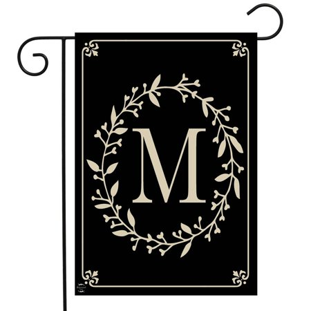 Garden Flag Letter - Briarwood Lane Classic Monogram Letter M Garden Flag Everyday 12.5