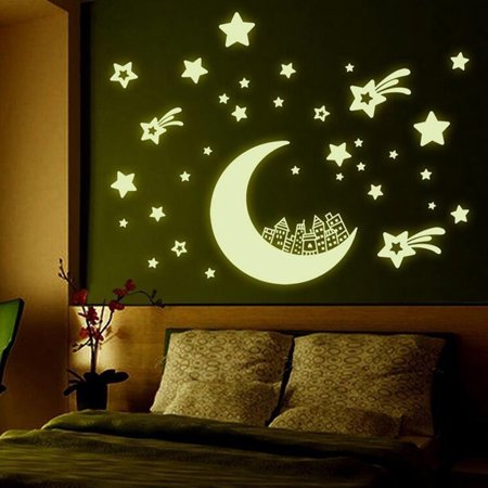 fluorescent stickers glow in the dark star moon luminous wall decal