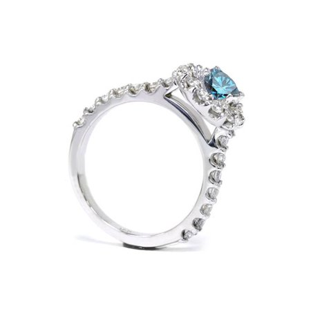 1 3/8ct Treated Blue Diamond Halo Engagement Ring Solid 14K White Gold - image 1 de 3