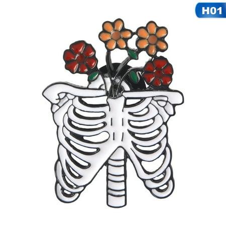 KABOER Ribs Skeleton Skull &Flowers Rose Enamel Pin Punk Brooch Badge Goth Jewelry