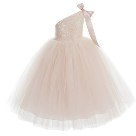 One-Shoulder Sequin Tutu Flower Girl Dresses Wedding Pageant Dress Tutu Dress Communion Dresses 182](Pale Yellow Flower Girl Dresses)