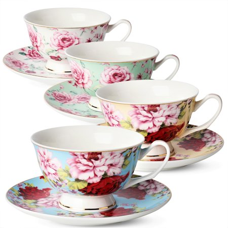 Tea / Coffee Cups and Saucers, Set of 4 (8 piece, 4 cups and 4 saucers), Assorted Color, Floral (Saucer 4 Piece Set)