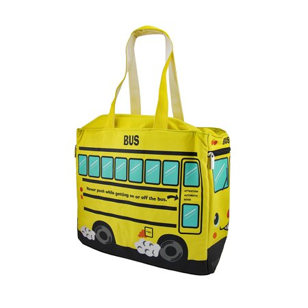 Yellow School Bus Insulated Canvas Tote Bag Bus Bar Insulation