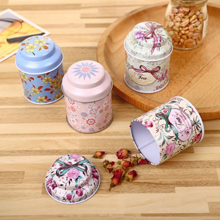 ENJOY Vintage Flower Metal Sugar Coffee Tea Tin Jar Container Candy Sealed Cans Box Holder