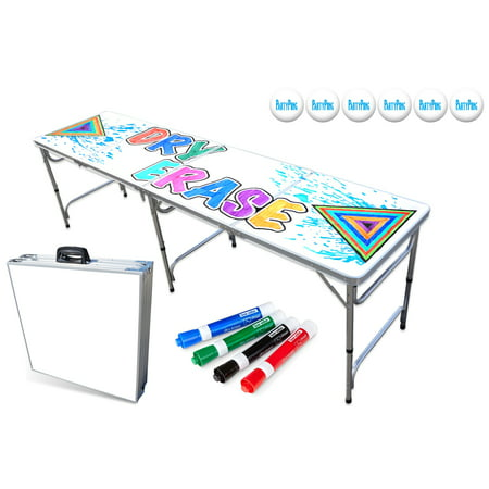 8 Foot Professional Beer Pong Table W Optional Cup Holes Led Lights Dry Erase Surface Party Graphics Choose Your Model